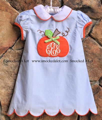 Fall Pumpkin Monogrammed Dress with collar, scalloped hem- Blue/Orange.  Thanksgiving