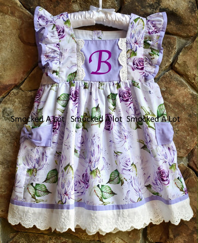 Purple Floral Dress with Pockets- Monogram Initial