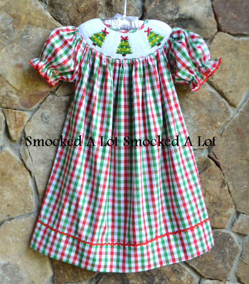 Smocked Christmas Tree Bishop Dress- Red Green Plaid