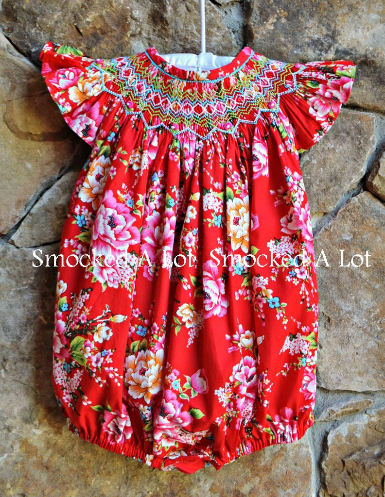 Smocked Bubble- Ring Around The Rosie- Red Floral