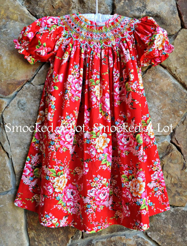 Smocked Bishop Dress- Ring Around The Rosie- Red Floral