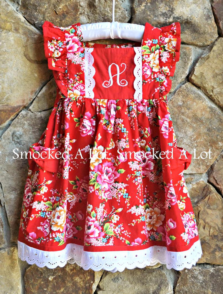 Ring Around The Rosie Dress with Initial- Red Floral