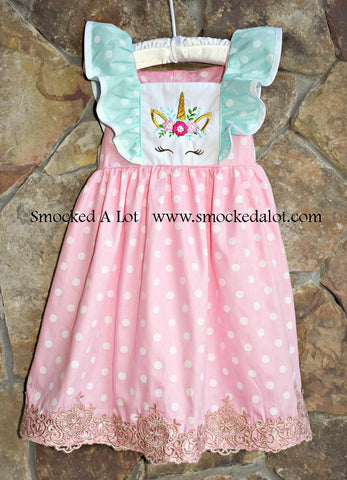 Unicorn Dress- Pink/Mint Polka Dot with Gold Lace Embroidered