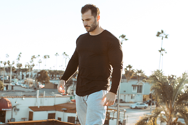 Men's Drop-Cut Long Sleeve features a round bottom