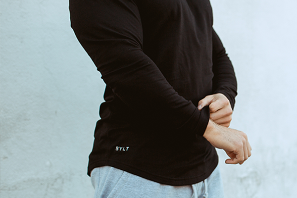 Men's Drop-Cut Long Sleeve features a Subtle Stretch