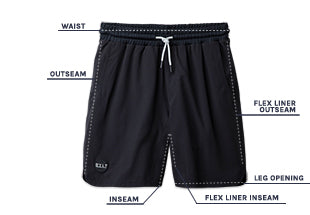 Men's Active Shorts Size Chart