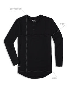 Henley Drop-Cut Long Sleeve Size Guide