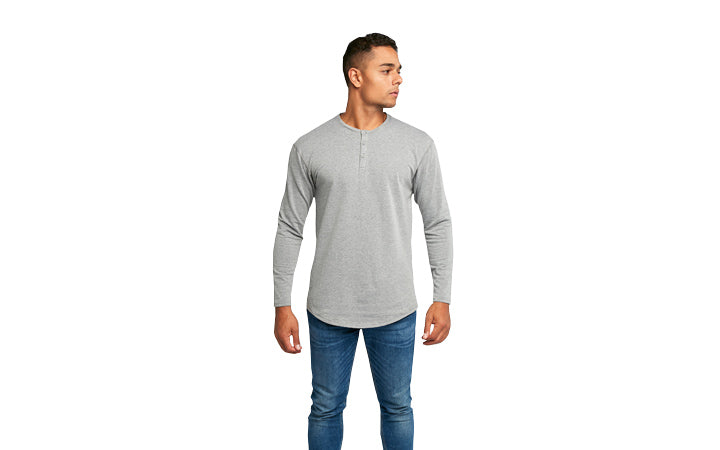 Men's Henley Drop-Cut Long Sleeve Sizing on Model