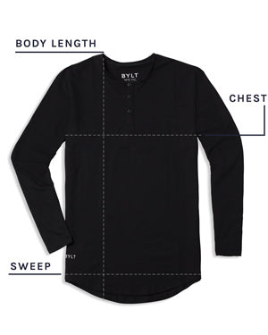 Henley Drop-Cut Long Sleeve Shirt Size Chart