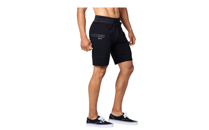 BYLT Basics | Men's Premium Jogger Shorts on model sizing
