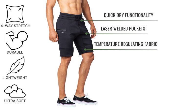 Men's Tech Jogger Shorts by BYLT Basics with Tech Blend Fabric