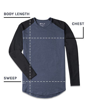 Baseball Drop-Cut Long Sleeve Shirt Size Chart