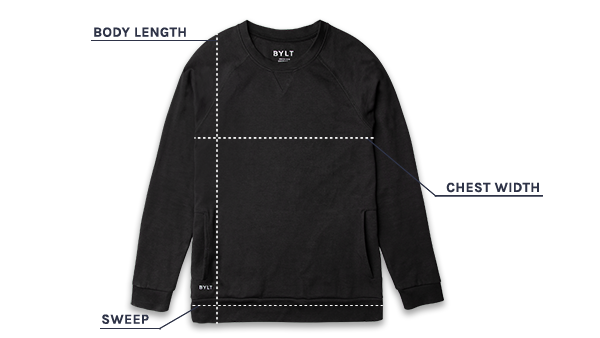 Elite+ Crewneck Sweatshirt size guide illustration