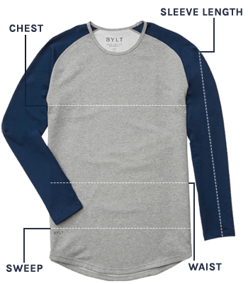 Baseball Drop-Cut: LUX Long Sleeve Size Guide