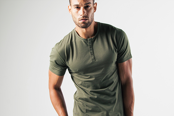 Military Green Henley Short Sleeved Drop Cut Tee by BYLT Premium Basics