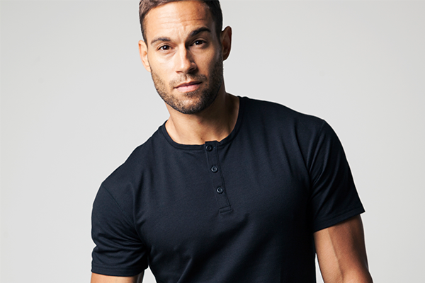 Navy Henley Short Sleeved Drop Cut Tee by BYLT Premium Basics
