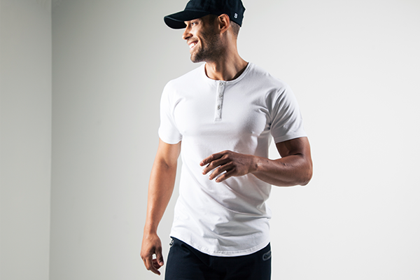 White Henley Short Sleeved Drop Cut Tee by BYLT Premium Basics