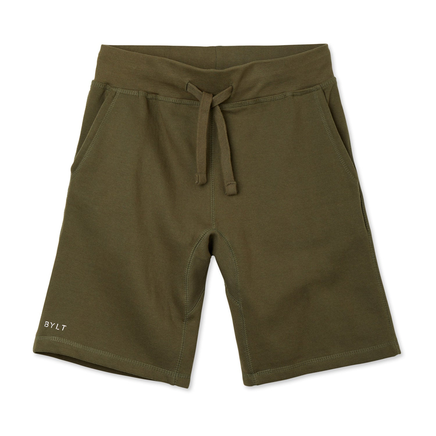 BYLT (BUILT) APPAREL BASICS JOGGER SHORT MILITARY GREEN.