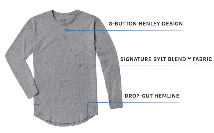 Men's Henley Drop-Cut Long Sleeve