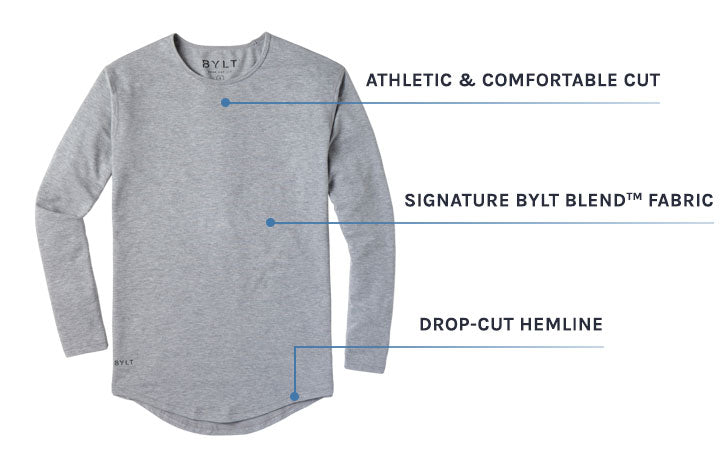 Men's Black Drop-Cut Long Sleeve by BYLT Basics