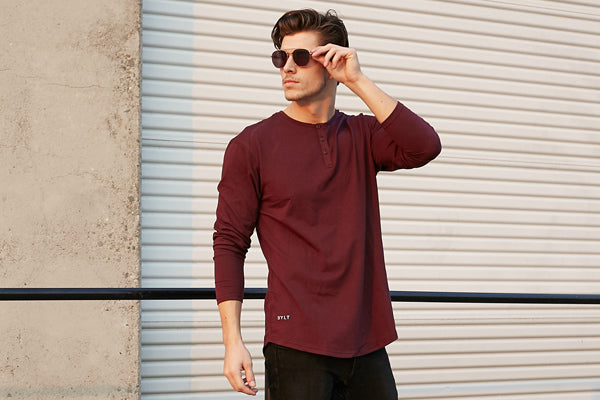 Rounded Bottom | Henley Drop-Cut Long Sleeve