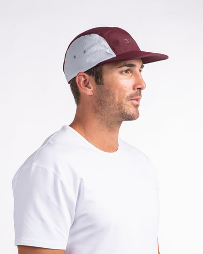 Active 5-Panel Cap Maroon-Light Grey Hat