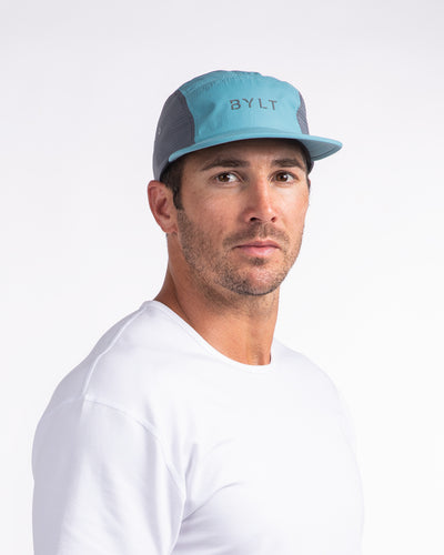 Active 5-Panel Cap Teal-Grey Hat