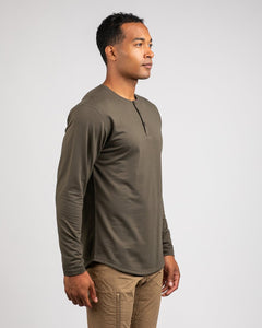 Stone - Henley Drop-Cut Long Sleeve