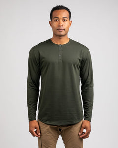 Forest - Henley Drop-Cut Long Sleeve