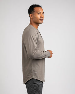 Olive - Henley Drop-Cut Long Sleeve