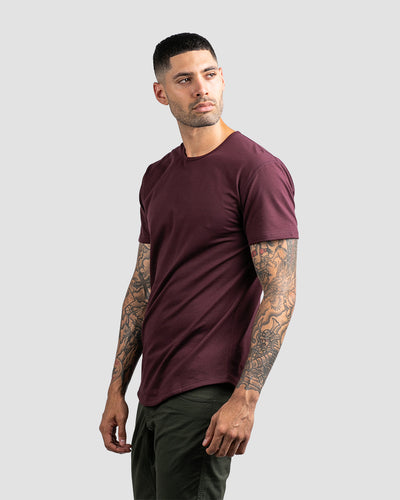 Drop-Cut Shirt <!-- Size S --> Maroon - Drop-Cut Shirt