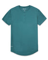 Henley Drop-Cut <!-- Size S --> Deep Cyan