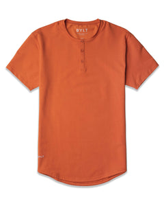 Burnt Orange - Henley Drop-Cut