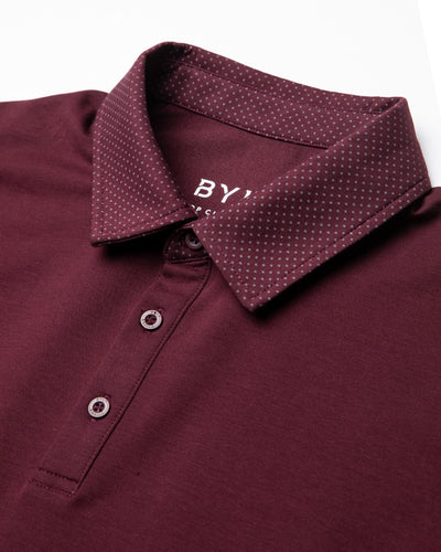 Drop-Cut: LUX Microdot Polo Maroon/Grey