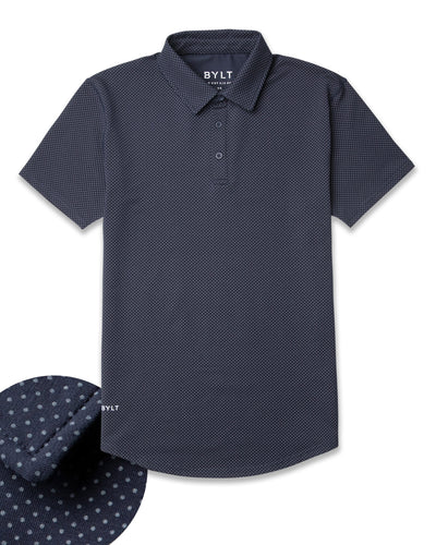 Drop-Cut: LUX Microdot Polo Navy/Grey