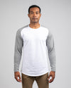 Baseball Drop-Cut Long Sleeve: LUX White/Heather Grey