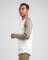 Baseball Drop-Cut Long Sleeve: LUX Bone/Olive