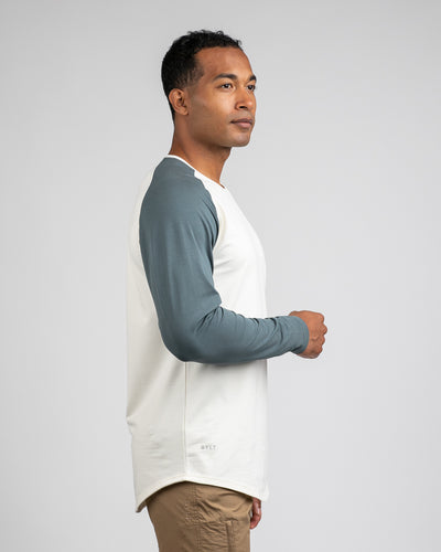 Baseball Drop-Cut Long Sleeve: LUX Bone/Pacific