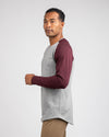 Baseball Drop-Cut Long Sleeve: LUX Heather Grey/Maroon