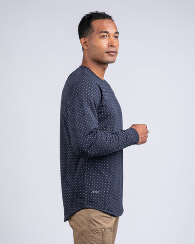 Dotted Drop-Cut Long Sleeve: LUX Navy/Grey