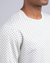 Dotted Drop-Cut Long Sleeve: LUX Bone/Navy