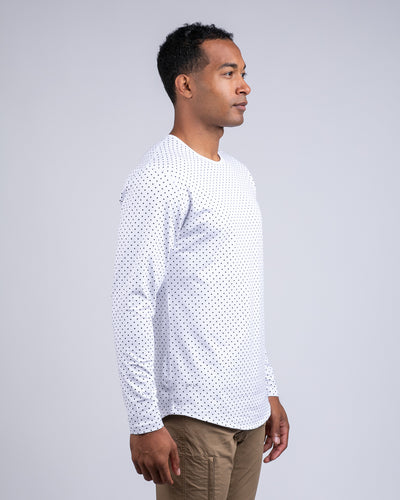 Dotted Drop-Cut Long Sleeve: LUX White/Black