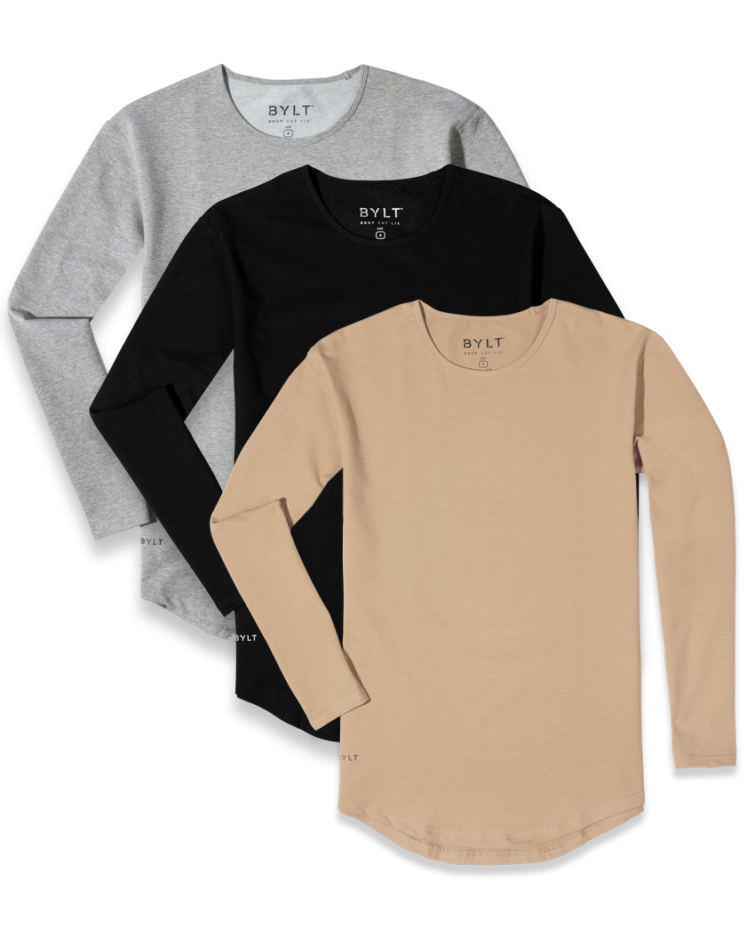Drop-Cut Long Sleeve Shirt - 3 Pack
