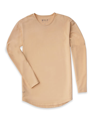 Drop-Cut Long Sleeve: LUX <!-- Size S --> Almond - Drop-Cut Long Sleeve: LUX
