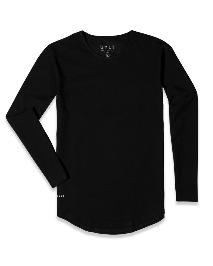 Black - Drop-Cut Long Sleeve: LUX