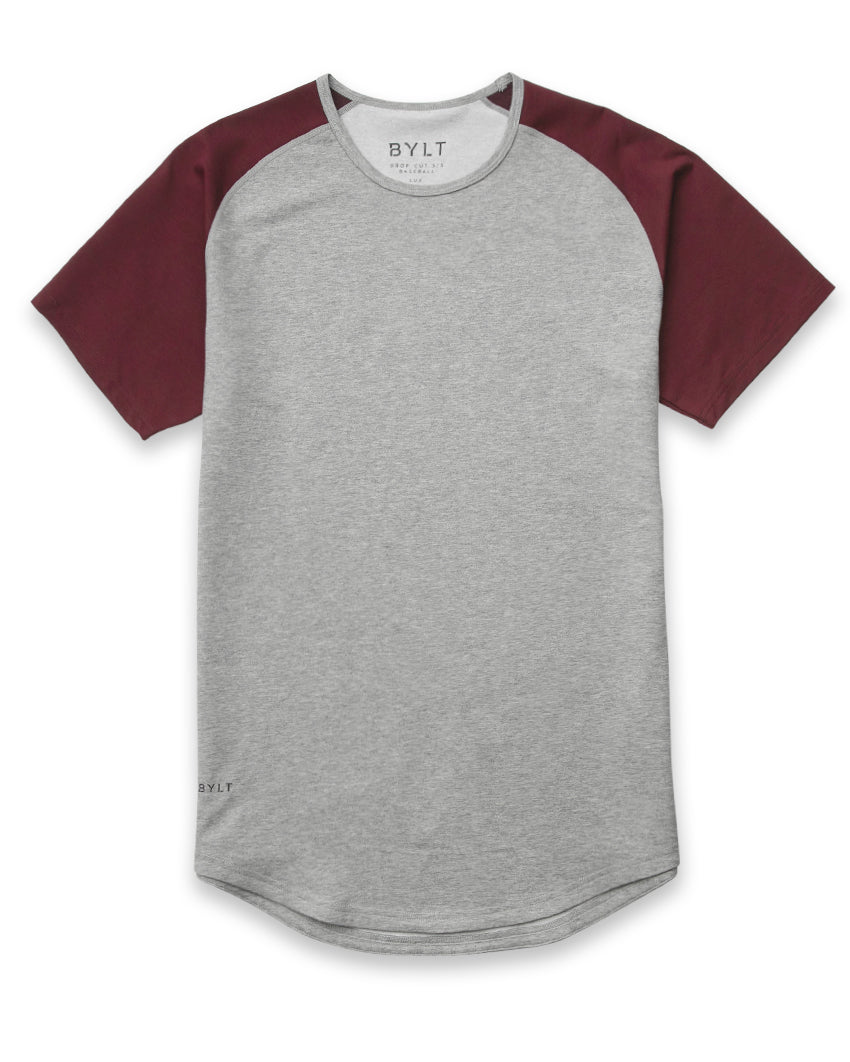 Grey/Maroon - Baseball Drop-Cut Shirt