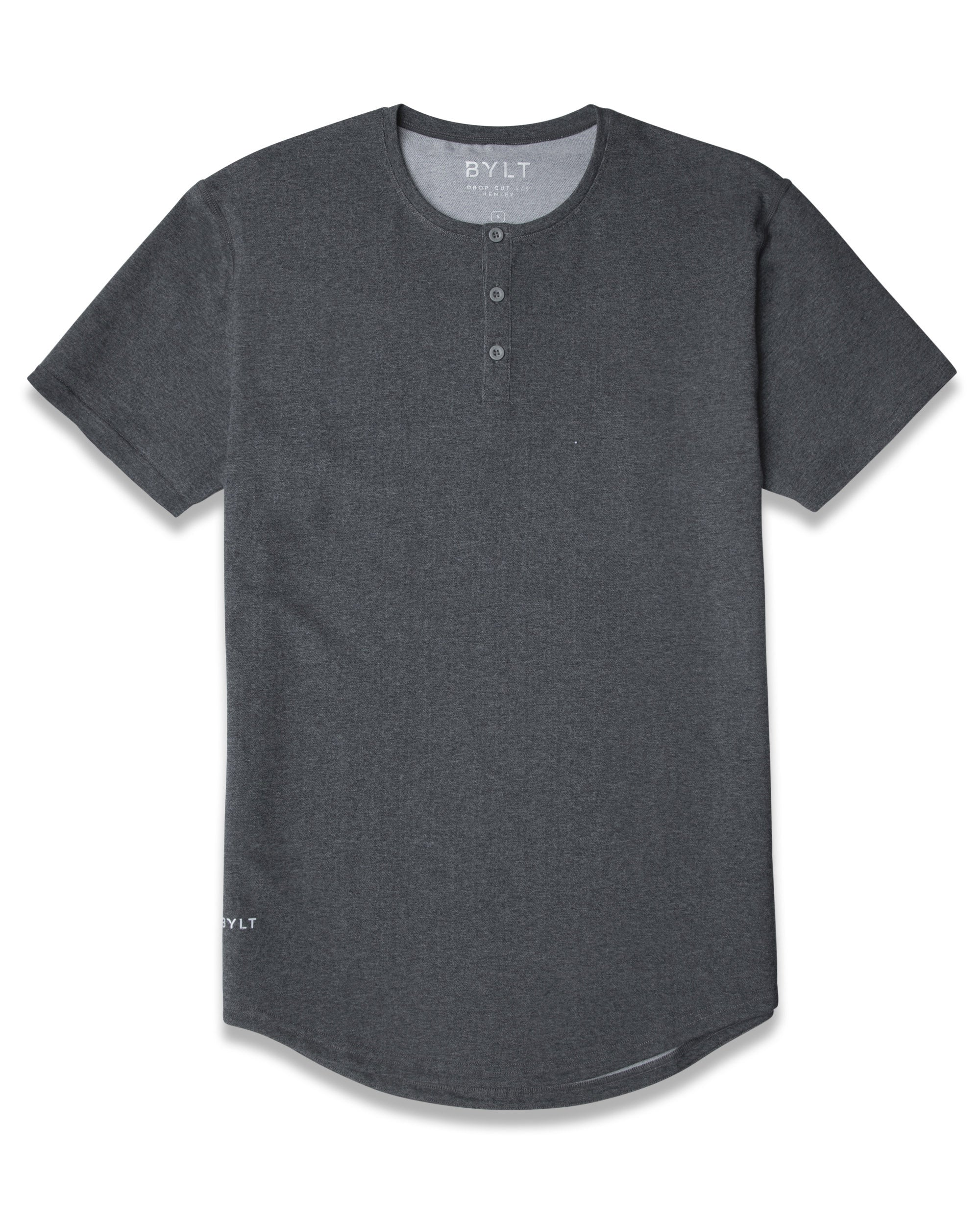 Dark Heather Grey Henley Drop-Cut