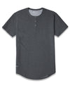 Henley Drop-Cut <!-- Size S --> Dark Heather Grey Henley Drop-Cut