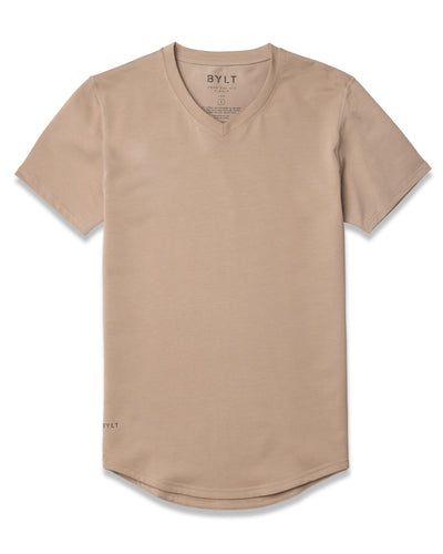 Drop-Cut V-Neck: LUX Sand