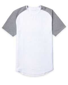 White/Heather-Grey - Baseball Drop-Cut Shirt